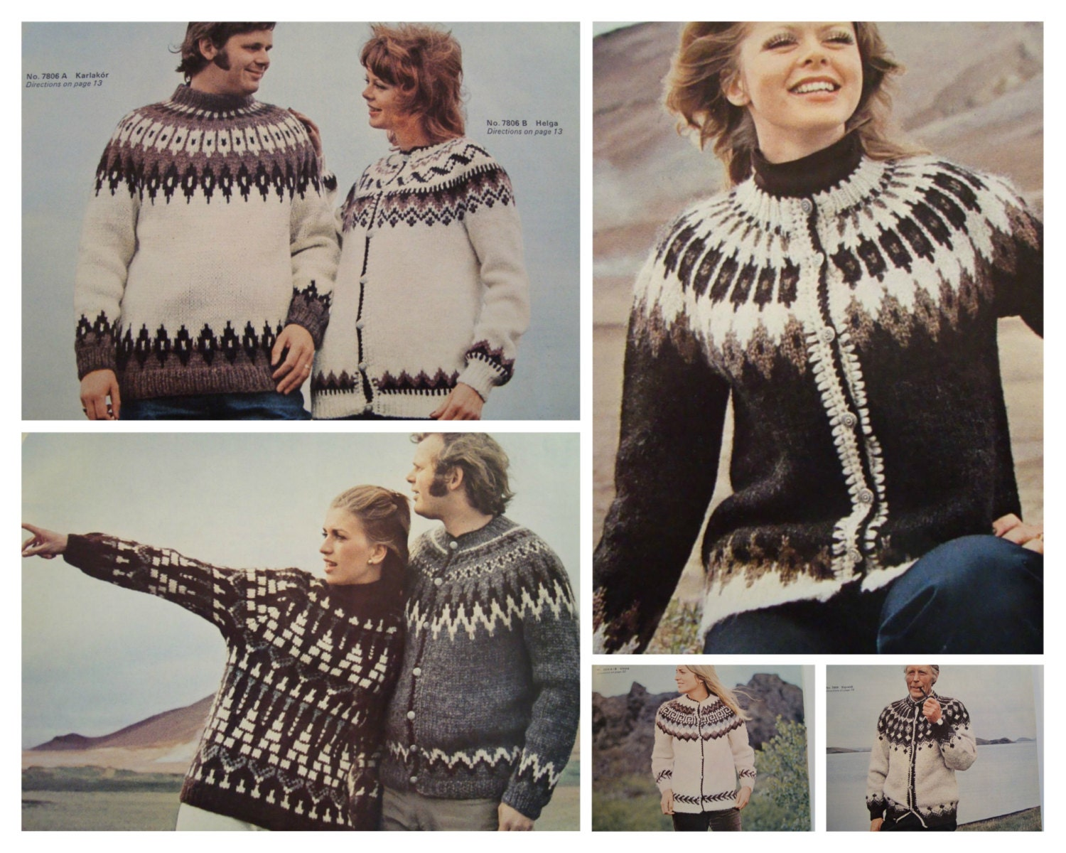 Graph Knitting Pattern Sweaters Pullovers/ Vintage Reynolds ...