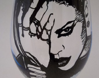 Rihanna,  Hand Painted Glass, Painted Wine Glass