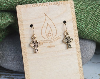 Irish Celtic Cross Earrings with Gold Filled Ear wires