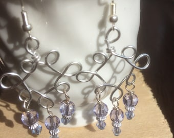 Silver scrol wire work earrings
