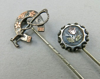 Antique Sterling Horse Shoe Pins Solid 9k Rose Gold Emblishment Antique Jewelry Antique Accessories Antique Collectibles