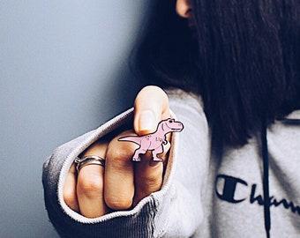 Dinosaur pin - Pink Dinosaur - Enamel dinosaur pin - dinosaur pin badge - pin dinosaur - Jurassic Park dinosaur enamel lapel pin