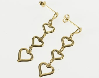 14K Tiered Heart Cut Out Dangle Post Back Earrings Yellow Gold