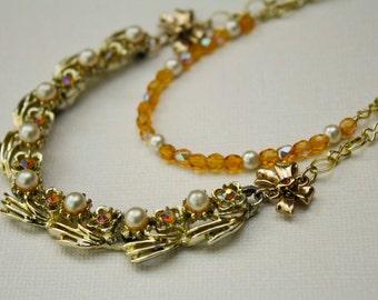 Topaze & Pearl composant Vintage collier en or - élégant multirangs, noeud, cristal, fleur