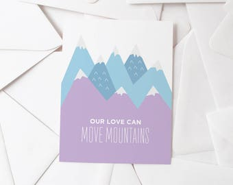 Move Mountains | Love Greeting Card | Valentine's Day Card | Blue & Purple