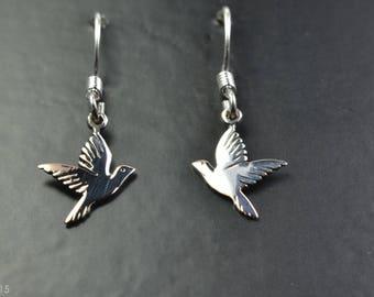 Nature Design Sterling Silver Earrings of Doves