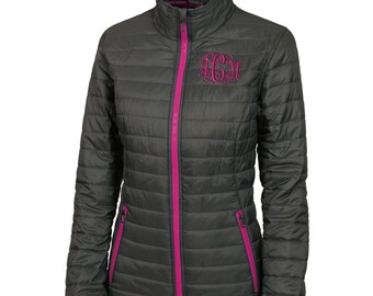 Monogram Womens Quilted Jacket. Monogrammed Quilted Coat. Charles River Women's Lithium Quilted Jacket. Personalized Coat. CR: 5640
