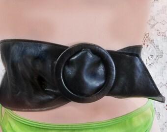 Black Corset belt - Black wide belt - Vegan black belt -Black waist cincher belt - tunic black belt  - waist up to 38 inches  # 81