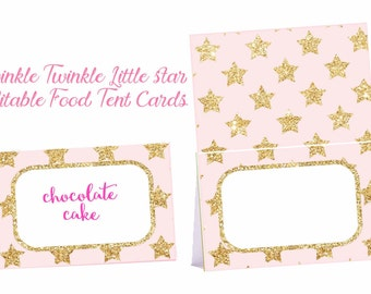 Twinkle  Twinkle Little Star food tent cards, Editable Twinkle Little Star baby shower, Pink and Gold Little Star Birthday, digital file.