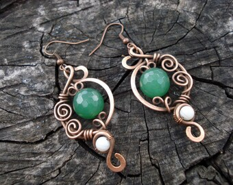 Green dangle earrings, Natural stone copper wire wrap women jewelry, Handmade spiral metal earrings, Unique elegant jewellery, Gift for her