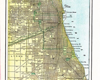 map of Chicago a printable digital image, no. 885