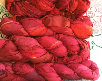 2 for 20 Red Recycled Sari Silk Ribbon Yarn, Scarlet, Crimson, Ruby, 3.5 oz/100 g, 50 yards each, Upcycled, Bulky, Knit, Crochet, Weave