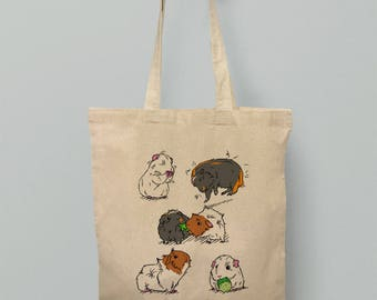 Guinea Pig Tote Bag Cartoon Hand Drawn Cute Piggy Holdall Cotton Popcorning Design Animal Photo  Funny Bags Art Rex Teddy Abyssinian White