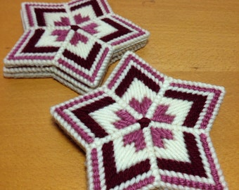 Six Star Shaped Cross Stitch Coasters - Maroon Pink and Cream Color