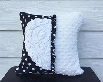 HIDDEN HEART white vintage chenille pillow cover, white heart cushion cover, Valentine pillow, Valentine gift, black and white cushion cover