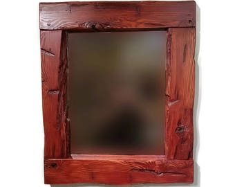 Wall Mirror - Reclaimed Wood Mirror - Bathroom Mirror - Rustic Mirror - Live Edge Wood Mirror - Cherry Finish - Natural Edge Mirror