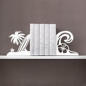 Book ends Coastal decor Beach decor Metal bookends Surf decor Tropical decor Book shelf Nautical decor Housewarming gift  - white