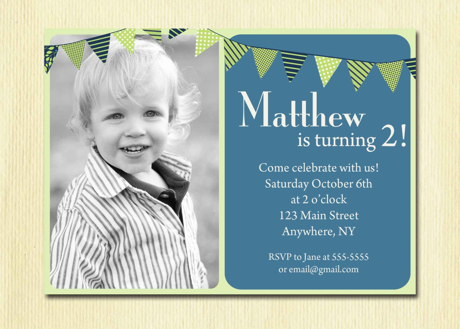 First Birthday Baby Boy Invitation 1st 2nd 3rd 4th Birthday