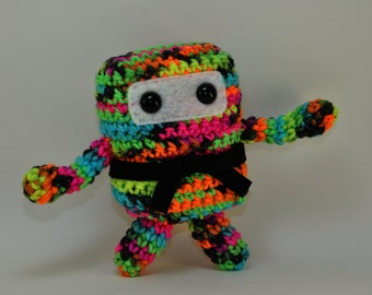 Mini Ninja Plush - Black Neon / Pink / Blue / Green / Yellow / Orange / Black