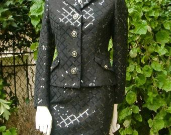 """VERSACE """" VERSUS """" 1990 Black Sequined Suit"""