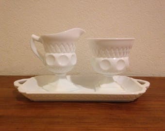 Vintage Indiana Glass Co. Kings Crown Thumbprint pattern milk glass sugar and creamer set with tray