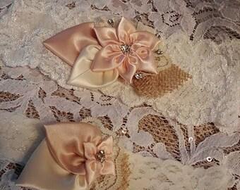 Burlap Wedding Garter Set, Country Chic, Ivory Lace & Burlap Garter, Blush Bridal Garter, Keepsake Garter, Country Rustic Garter, Gift Boxed