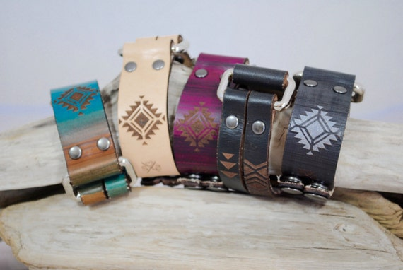 RECTANGLE | aztec | leather cuff | perfect gift