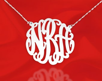 Silver Monogram Necklace - 1.25 inch - Personalized Monogram - Custom Monogram - Initial Necklace - Made in USA