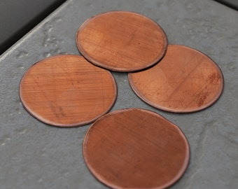 "Qty 4  -  Round Copper Blanks 1.5"" 24 gauge  -  FREE SHIPPING"