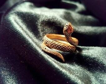 Snake Ring Brass, Wrap Ring, Serpent Ring, Tribal Ring