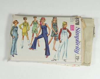 Simplicity 8178 - Vintage 1969 Pattern - Juniors and Misses Jumpsuit in Two Lengths and Blouse - Size 12