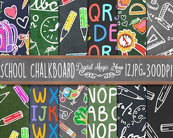School Chalkboard Digital Papers Pack, Seamless pattern - 12pcs 300dpi (paper crafts, card making, scrapbooking) Commercial use