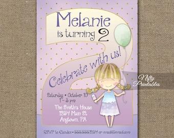 Girls 2nd Birthday Invitations - 2nd Birthday Invitation - Girl 2nd Birthday Party - Two Year Old Birthday Invites - Printable 2 Years CG1