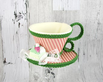 Pink and Cream Striped and Green with Petit Four Tea Cup Fascinator Hat, Alice in Wonderland Mad Hatter Tea Party, Derby Hat