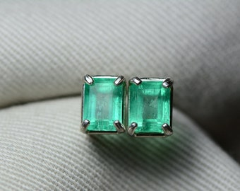 Emerald Earrings, Colombian Emerald Stud Earrings 1.99 Carats, Appraised at 1,800.00 Sterling Silver,Real Natural Green, May Birthstone, Cut