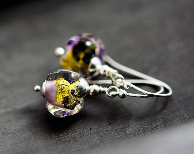 Lampwork Glass Earrings, Drop Earrings, Glass Earrings, Dangle Earrings, Glass Jewelry, Purple, Gold