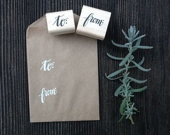 to & from Mini Stamp Set, Modern Calligraphy Stamps, Mailing Stamps, Gift Packaging, Small, Hand Lettered, Wood Block Rubber Stamps