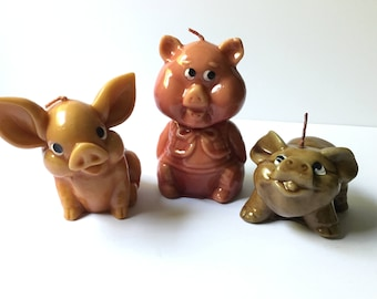 3 LITTLE PIGS CANDLES Vintage Set of Very Cute Candles