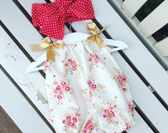 Baby girl toddler bubble romper vintage style ivory rose fabric with gold ribbon detail snaps fastening 3, 6, 9, 12 months to 2, 3, 4 years
