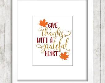 Thanksgiving decor - Thanksgiving print - Autumn decor - Give thanks sign - Fall print - Fall decoration - Fall decor - Printable