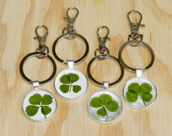 4 Four leaf clover lucky key ring charm keychain, Nature lover gift, Good luck charm, Lucky clover, Pressed and Preserved, Lobster clasp
