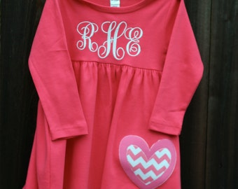 Personalized Valentine's Day Heart Toddler Dress-Long Sleeve
