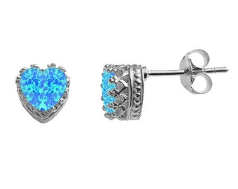 Blue heart opal and crystal stud earrings in sterling silver FL6WIQVn