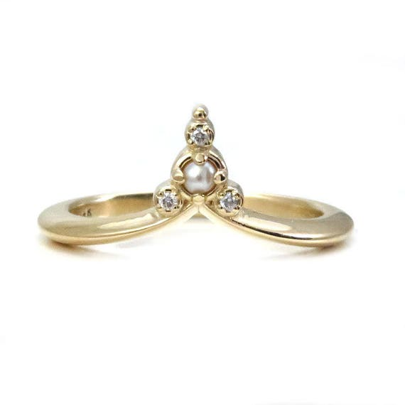 Seed Pearl & Diamond Cluster Ring - 14k Gold Stacking Pointed Wedding Band