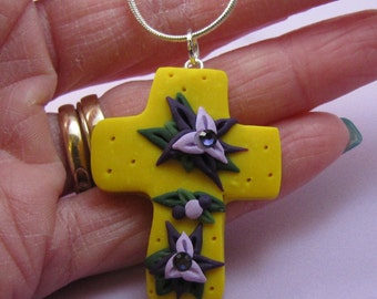 SALE Item - Yellow and Purple Easter CROSS Necklace - Handmade Polymer Clay and Swarovski Crystals