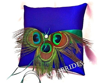 Royal blue and Jade peacock feather wedding ring bearer pillow, peacock ring cushion