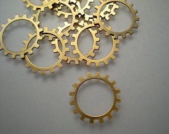 12 medium brass open gear charms/stampings