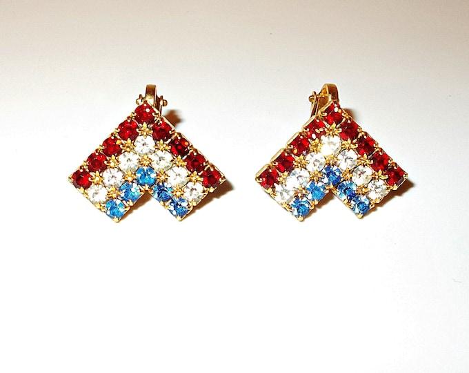 Vintage 70s Red White Blue Gold V Rhinestone Womens Clip On Huggie Earrings