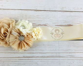 bridal sash, champagne bridal sash, floral bridal sash, flower bridal sash, flower girl sash, bridesmaid sash, bridal belt, wedding belt