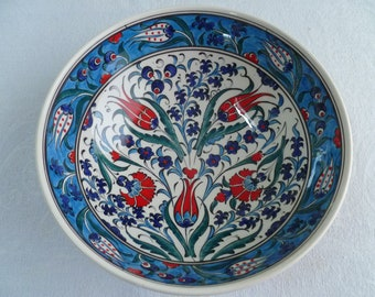 "Turkish ceramic bowl, 10"" bowl, serving bowl, Iznik design, blue and red floral, birthday gift, wedding gift, fruit bowl, decorative bowl"